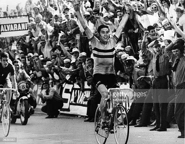Belgian cyclist Eddy Merckx on winning the final sprint to take the World Professional Road Championship at Mendrisio Switzerland