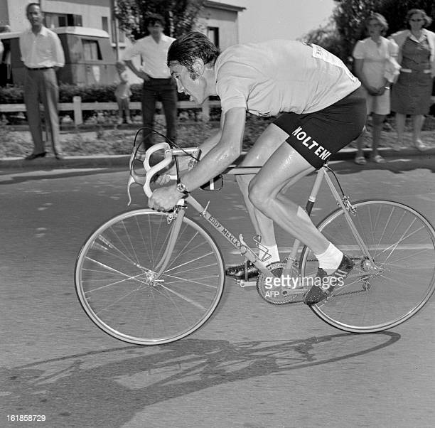 Belgian cyclist Eddy Merckx rides during the 20th and final stage of the Tour de France an individual time trial between Versailles and Paris 18 July...