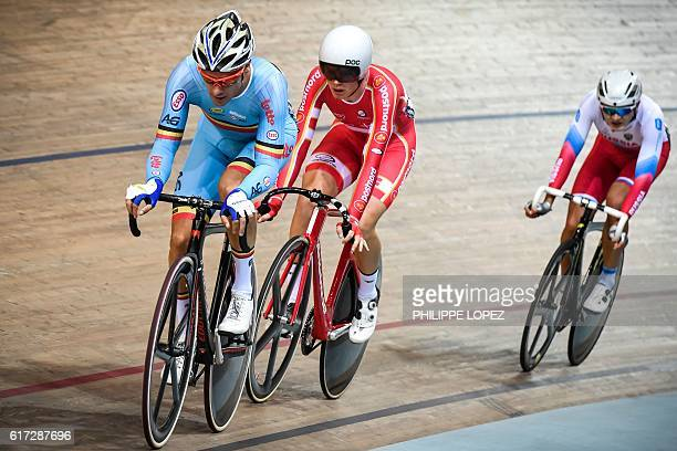 Belgian cyslit Kenny De Ketele and Danish cyclist Niklas Larsen compete in the points race at the European Track Championships Saint Quentin en...