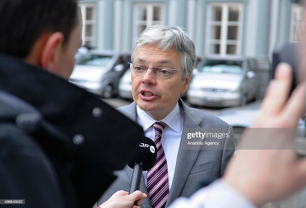 Belgian Deputy Prime Minister and Foreign Minister <a gi-track='captionPersonalityLinkClicked' href=/galleries/search?phrase=Didier+Reynders&family=editorial&specificpeople=548982 ng-click='$event.stopPropagation()'>Didier Reynders</a> speaks to the media when he arrives to attend the meeting of Party of European Socialists (PES) ahead of the European Council on March 19, 2015 in Brussels.
