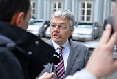 Belgian Deputy Prime Minister and Foreign Minister Didier Reynders speaks to the media when he arrives to attend the meeting of Party of European...