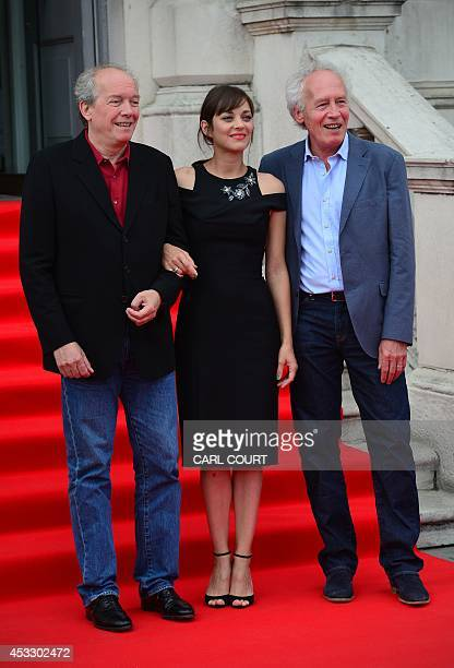 Belgian directors Luc Dardenne JeanPierre Dardenne and French actress Marion Cotillard attend the UK premiere of their film Two Days One Night in...