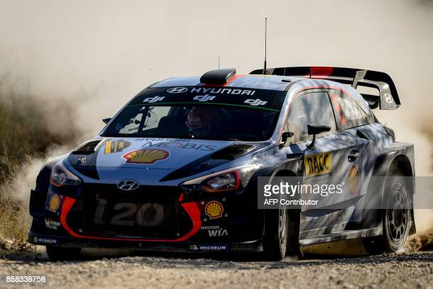 Belgian driver and codriver Thierry Neuville and Nicolas Gilsoul drive their Hyundai Motorsport WRT Hyundai i20 Coupe WRC during the 53rd 'Rally de...