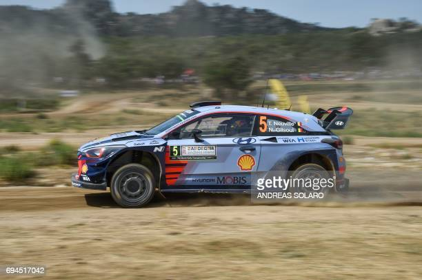 Belgian driver Thierry Neuville and codriver Nicolas Gilsoul drive their Hyundai i20 Coupe WRC during the 'Arena' at Coiluna Loelle on the third day...
