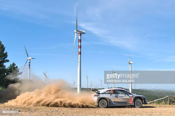 Belgian driver Thierry Neuville and compatriot codriver Nicolas Gilsoul drive their Hyundai i20 Coupe WRC near Tula village on the second day of the...