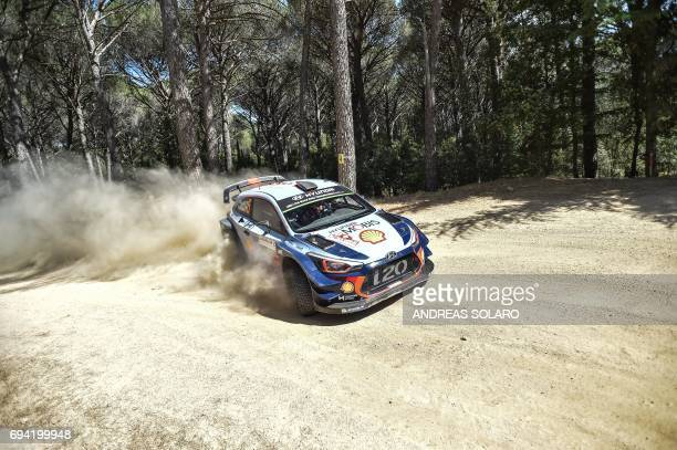 Belgian driver Thierry Neuville and compatriot codriver Nicolas Gilsoul race their Hyundai i20 Coupe WRC at Monte Olia near Monti village on the...