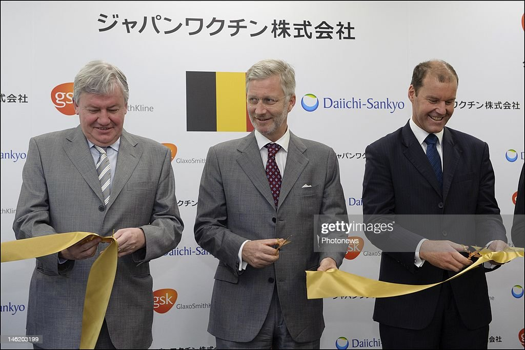 Belgian economic mission to Japan presided by Prince Philip and Princess Mathilde. Prince Philip of Belgium with Belgian Minister Jean-Claude Marcourt and Philippe Fauchet President of GSK Japan pictured during the inauguration ceremony for the Japan vaccine by GSK on June 12, 2012 in Tokyo, Japan.