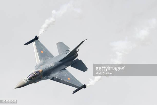 Belgian F16 performs at the Festival of Flight at Biggin Hill Airport on August 19 2017 in Biggin Hill England