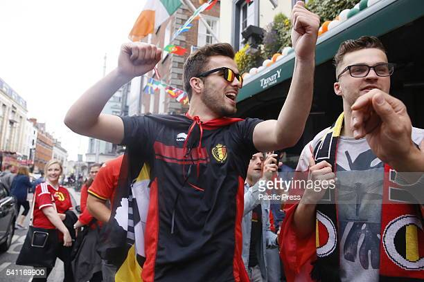Belgian fans celebrate their country's win against the Republic of Ireland at the European Championship with the score of 30 Romelu Lukaku scored two...