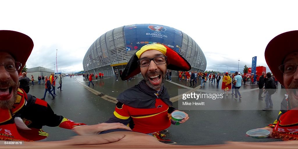 Belgian fans enjoy the atmsophere prior to the UEFA EURO 2016 quarter final match between Wales and Belgium at Stade Pierre-Mauroy on July 1, 2016 in Lille, France.