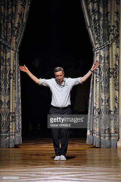 Belgian fashion designer Dries Van Noten walks the runway during the Dries Van Noten show as part of the Paris Fashion Week Womenswear Fall/Winter...