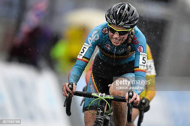 Belgian Femke Van Den Driessche races during the women's U23 race at the world championships cyclocross cycling in HeusdenZolder on January 30 2016 A...