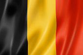 """Belgium flag, three dimensional render, satin texture"""
