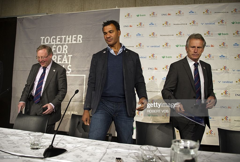 Belgian football union chairman Francois De Keersmaecker Dutch former international football player Ruud Gullit and president of the Dutch football...