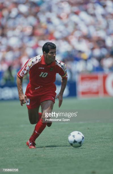Belgian footballer and captain of the national team Enzo Scifo pictured in action playing for Belgium in the 1994 FIFA World Cup Group F match...