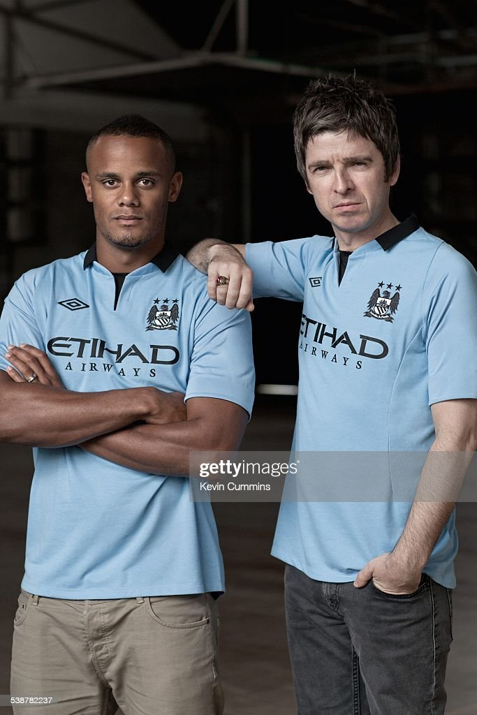 Belgian footballer and Manchester City captain, Vincent Kompany (left), with Noel Gallagher of British rock group Oasis, 2nd July 2012.