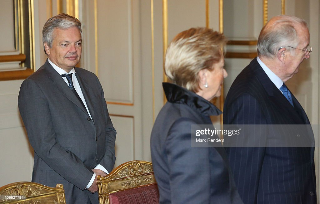 Belgian Foreighn Affairs Minister Didier Reynders, Queen Paola and King Albert of Belgium attend a New Year reception for the European Commission Officials at Palais de Bruxelles on January 23, 2013 in Brussel, Belgium.