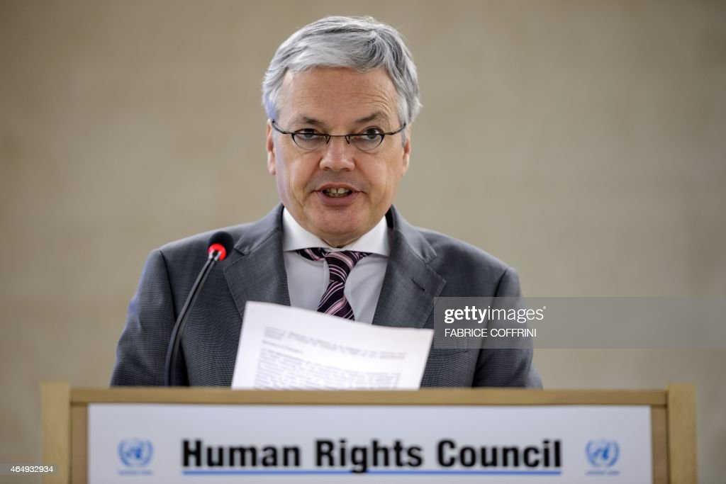 Belgian foreign minister <a gi-track='captionPersonalityLinkClicked' href=/galleries/search?phrase=Didier+Reynders&family=editorial&specificpeople=548982 ng-click='$event.stopPropagation()'>Didier Reynders</a> delivers a speech before delegates on March 2, 2015 at the opening day of UN human rights council session at the United Nations offices in Geneva. AFP PHOTO / FABRICE COFFRINI