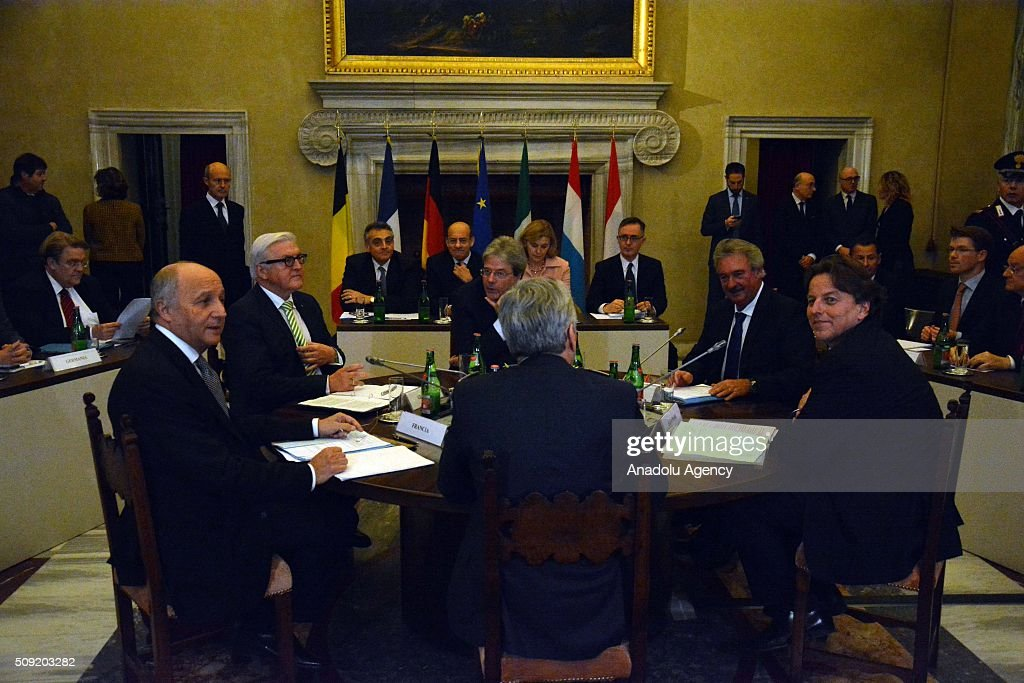 Belgian Foreign Minister Didier Reynders, French Foreign Minister Laurent Fabius, German Foreign Minister Frank-Walter Steinmeier, Italian Foreign Minister Paolo Gentiloni, Luxembourg's Foreign Minister Jean Asselborn and Dutch Foreign Minister Bert Koenders are seen during a meeting in Rome, Italy on February 9, 2016. Foreign ministers of the six countries that founded the European Union - Germany, France, Italy, Belgium, Netherlands and Luxembourg met in Rome to consider ways to lift the bloc out of its morass.