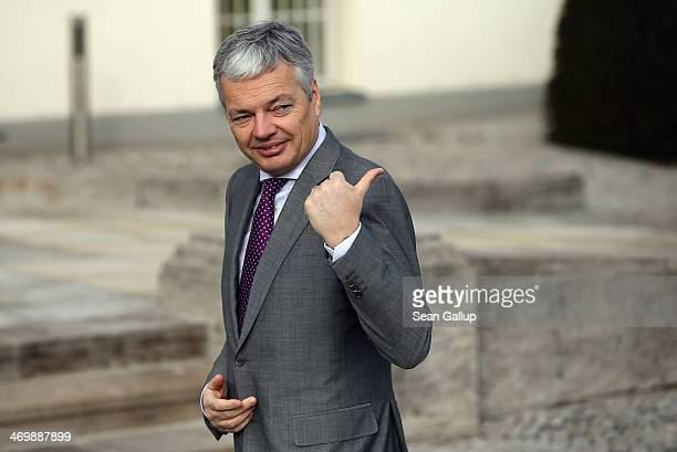 Belgian Foreign minister Didier Reynders stands at Schloss Bellevue prior to the arrival of Queen Mathilde of Belgium and King Philippe of Belgium on...