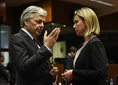 Belgian Foreign minister Didier Reynders talks with the European Union foreign policy chief Federica Mogherini during a Foreign Affairs Council...