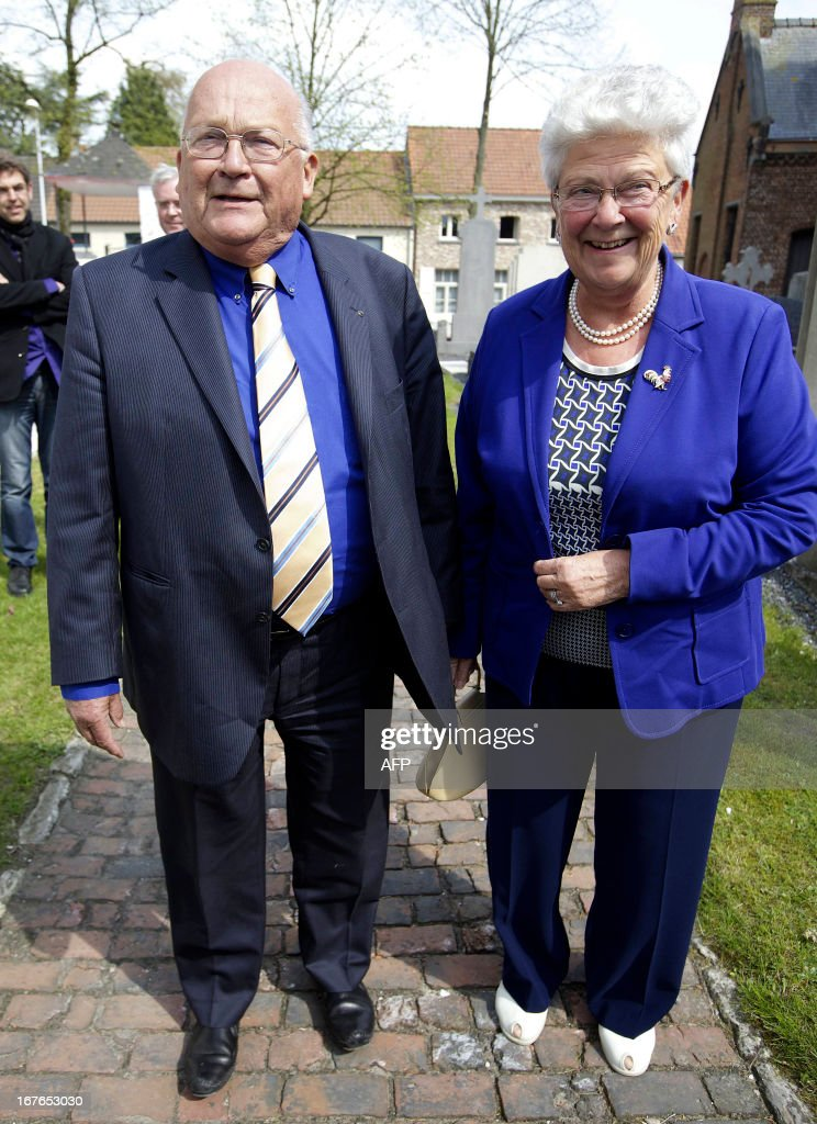 Belgian former Prime Minister <a gi-track='captionPersonalityLinkClicked' href=/galleries/search?phrase=Jean-Luc+Dehaene&family=editorial&specificpeople=2586798 ng-click='$event.stopPropagation()'>Jean-Luc Dehaene</a> (L) and his wife Celie pose during the wedding ceremony of Belgian former Prime Minister Wilfried Martens and his wife Miet (not pictured) on April 27, 2013 in Lokeren, northern Belgium. Belgium Out