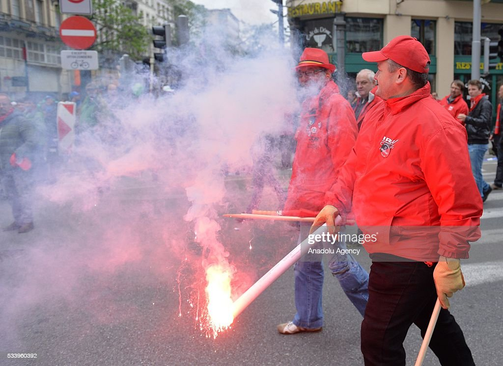 Belgian gather for a national protest on May 24, 2016, in Brussels, Belgium. Belgian trade unions called for mass protests against the centre-right government's proposed work reforms.