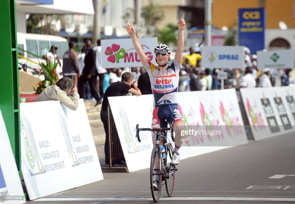 Belgian Gert Dockx of the Lotto team crosses the finish line on January 20, 2013 to win the seventh and last 126 kms stage of the eighth edition of the Tropicale Amissa Bongo cycling race between Owendo and Libreville in Gabon. JORDAN