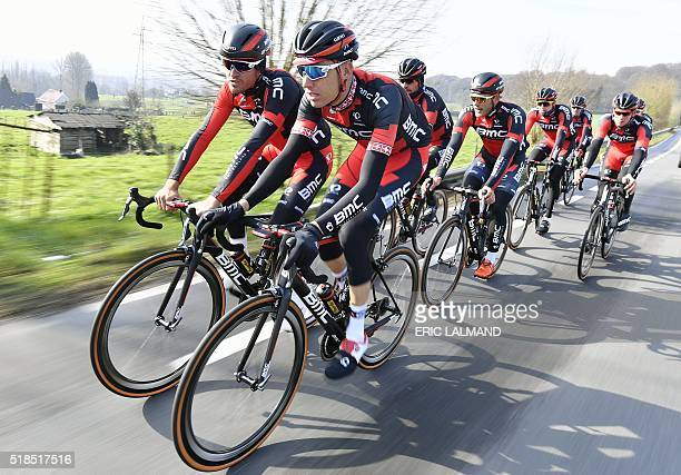 Belgian Greg Van Avermaet of BMC Racing Team and Swiss Michael Schar of BMC Racing Team practice during a track reconnaissance on April 1 ahead of...