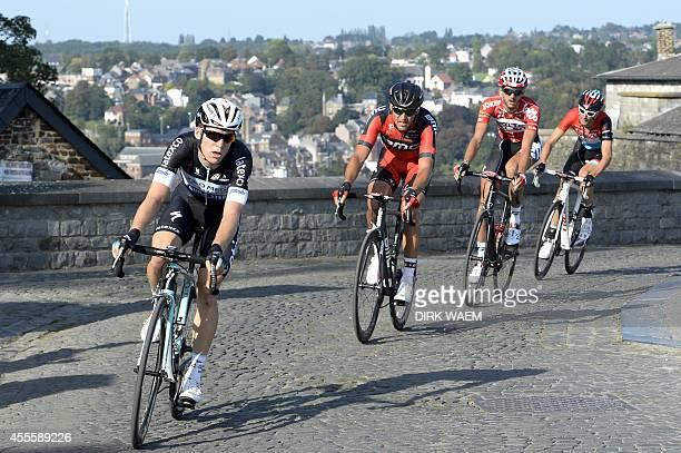Belgian Jan Bakelants of team Omega Pharma Quick Step Belgian Greg Van Avermaet of BMC Racing Team Belgian Jelle Vanendert of Lotto Belisol and...