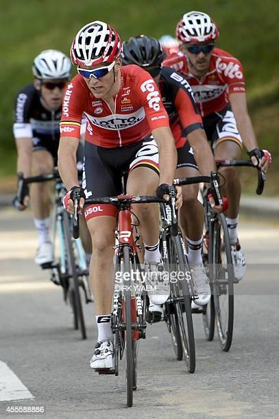 Belgian Jan Bakelants of team Omega Pharma Quick Step French Tony Gallopin of Lotto Belisol Belgian Greg Van Avermaet of BMC Racing and Belgian Jelle...