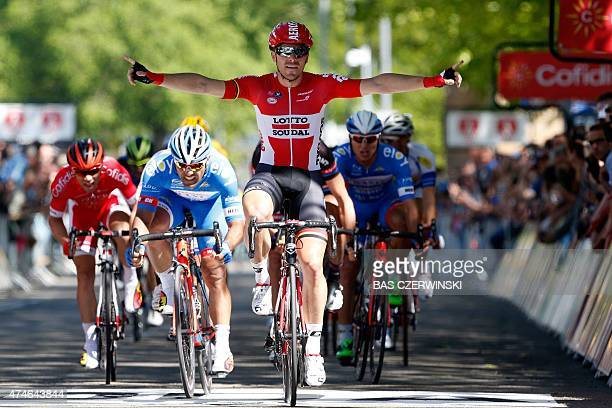 Belgian Kris Boeckmans of team Lotto Soudal celebrates as he wins the second and last stage of the fourth edition of the World Ports Cycling Classic...