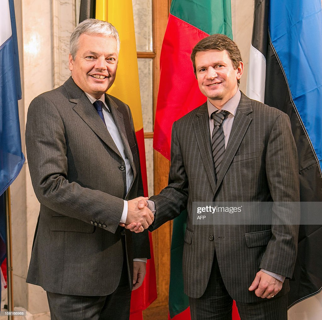 Belgian minister Didier Reynders (L) shakes hands with Lithuanian Vice-President and Foreign Affairs Minister Vytautas Leskevicius (R) during a press conference of representants of six delegations after the ministers meeting of Benelux and Baltic States, in Brussels, on December 10, 2012.