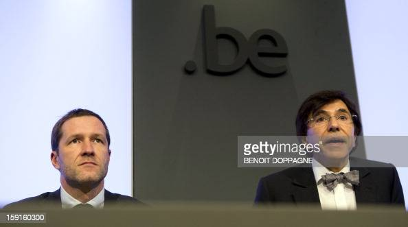 Belgian Minister of Public Enterprises Science and Development Cooperation Paul Magnette and Prime Minister Elio Di Rupo give a press conference...