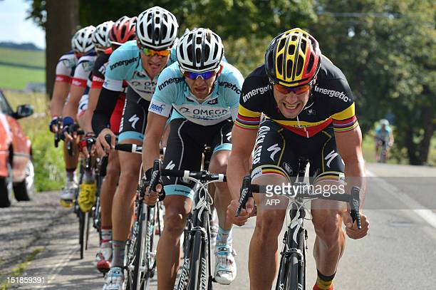 Belgian national champion Tom Boonen of team Omega Pharma Quick Step competes during the Grand Prix de Wallonie a oneday cycling race from...