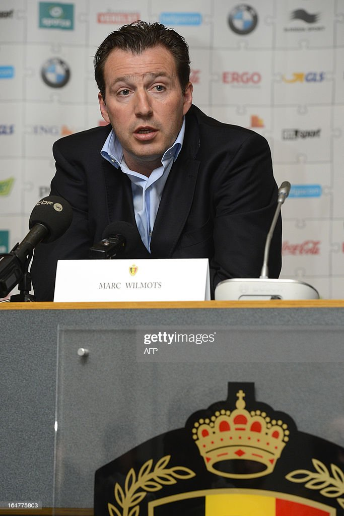 Belgian national football team head coach Marc Wilmots gives a press conference on March 27, 2013 in Brussels a day after the team's 1-0 win over Macedonia in a 2014 World Cup qualifying match.