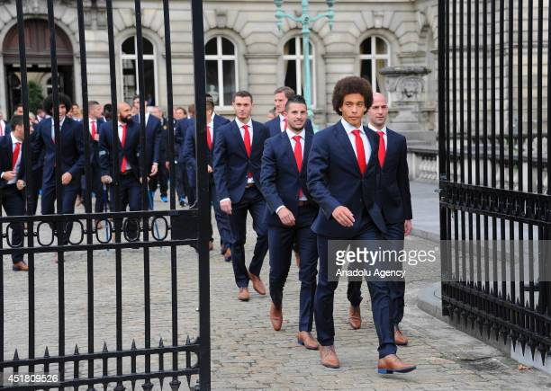 Belgian national team members arrive to Royal Palace of Brussels to meet with King Philippe after their team is eliminated from the 2014 FIFA World...