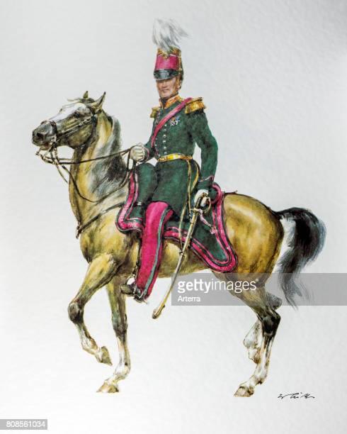 Belgian officer on horseback in uniform of the 18481850 General Staff