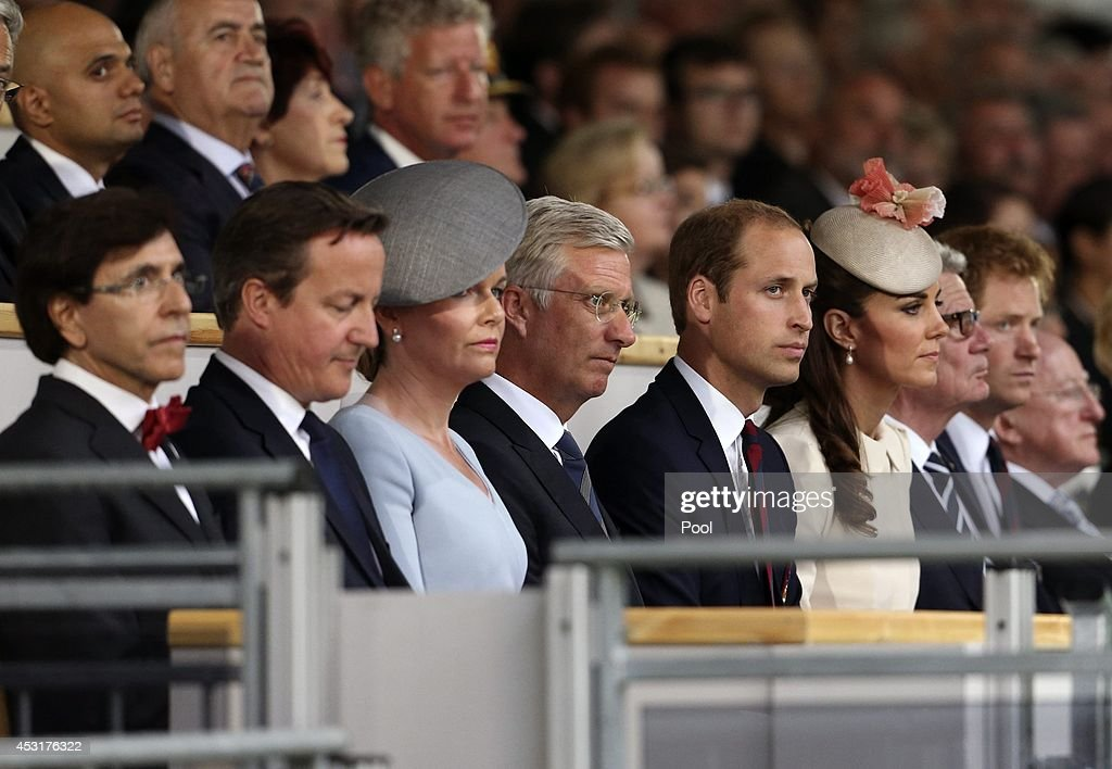 Belgian outgoing Prime Minister Elio Di Rupo, British Prime Minister David Cameron, Queen Mathilde of Belgium, King Philippe of Belgium, Prince William, Duke of Cambridge and his wife Catherine, Duchess of Cambridge and Prince Harry attend a ceremony at St. Symphorien Military Cemetery on August 4, 2014 in Mons, Belgium. Monday 4th August marks the 100th Anniversary of Great Britain declaring war on Germany. In 1914 British Prime Minister Herbert Asquith announced at 11pm that Britain was to enter the war after Germany had violated Belgium's neutrality. The First World War or the Great War lasted until 11 November 1918 and is recognised as one of the deadliest historical conflicts with millions of casualties. A series of events commemorating the 100th Anniversary are taking place throughout the day.