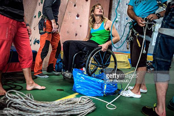 AGASSE Belgian paraplegic climber Vanessa Francois looks on sitting on her wheelchair during a training session on September 25 2013 in...