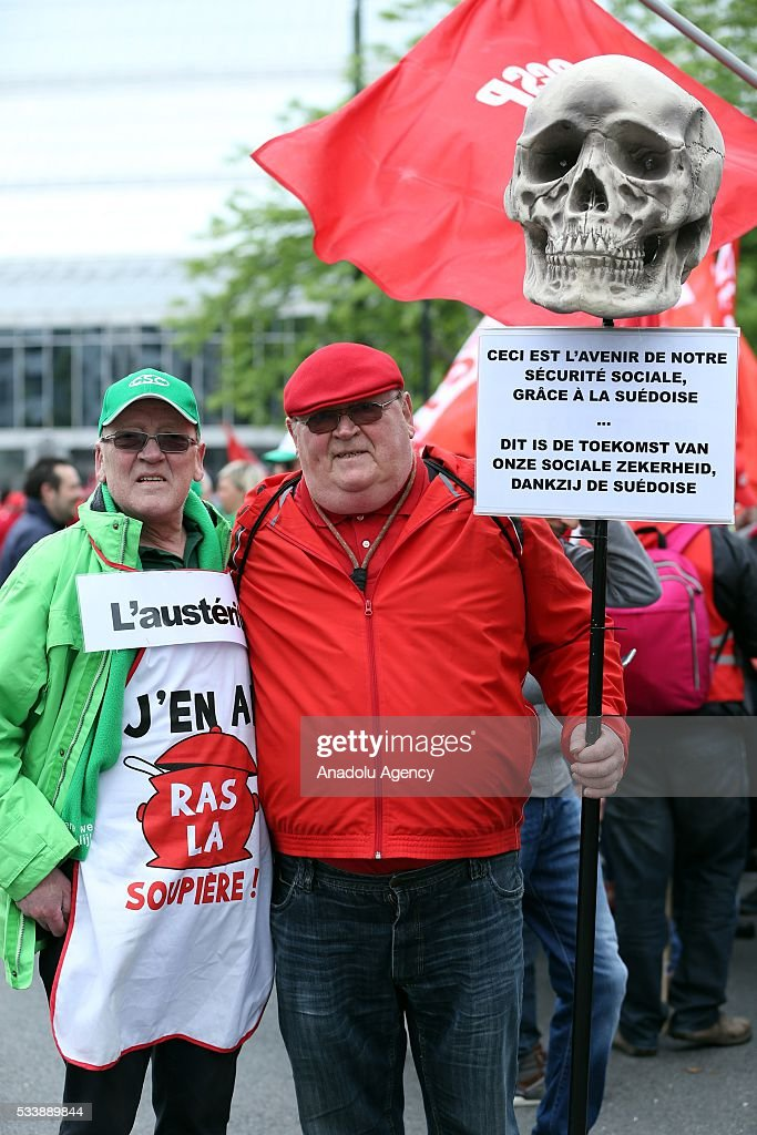Belgian people stage a protest against the government's austerity policy in Brussels, Belgium on May 24, 2016.