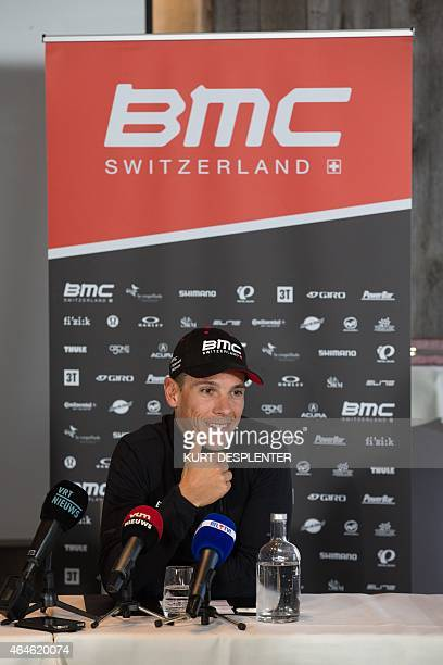 Belgian Philippe Gilbert of BMC Racing Team speaks at a press conference of BMC cycling team on February 27 ahead of the 'Omloop Het Nieuwsblad' and...