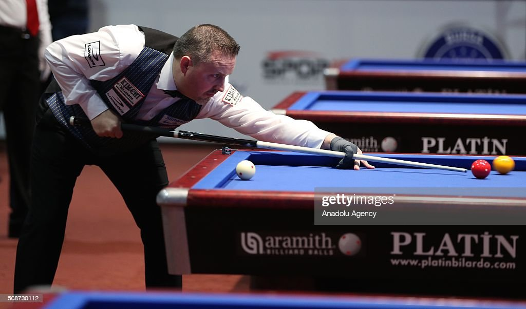 Belgian player Frederic Caudro competes during the Carom Billiards World Cup organized by Union Mondiale de Billard (UMB) and Turkish Billiard Federation in Bursa, Turkey on February 6, 2016.