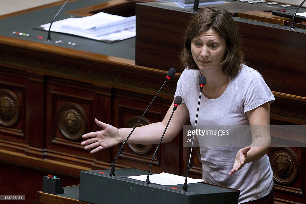 Belgian politician Maya Detiege (sp.a) speaks during a plenary session of the Chamber at the federal parliament in Brussels, on May 8, 2013.