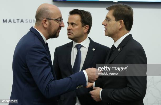 Belgian Prime Minister Charles Michel and Prime Minister of Luxembourg Xavier Bettel and Slovenian Prime Minister Miro Cerar chat during the informal...