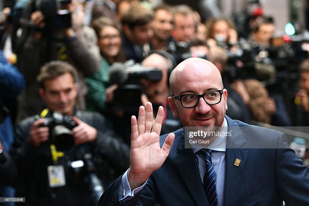 Belgian Prime Minister, <a gi-track='captionPersonalityLinkClicked' href=/galleries/search?phrase=Charles+Michel+-+Politician&family=editorial&specificpeople=13722663 ng-click='$event.stopPropagation()'>Charles Michel</a>, arrives at the headquarters of the Council of the European Union at the beginning of a two-day European Council meeting on October 23, 2014 in Brussels, Belgium. David Cameron has come in for criticism from outgoing European Commission president Jose Manuel Barroso after Downing Street said the Prime Minister will lay out plans to limit the rights of EU migrants to work in Britain as well as announcing a plan to quit the European Court of Human Rights and replace it with a UK Bill of Rights.