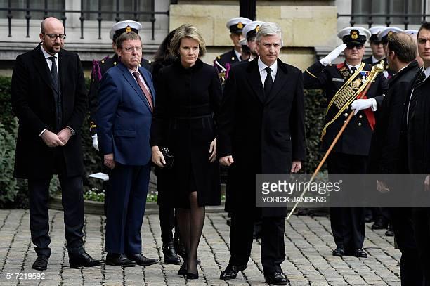 Belgian Prime Minister Charles Michel Chamber chairman NVA's Siegfried Bracke Queen Mathilde of Belgium and King Philippe Filip of Belgium arrive to...