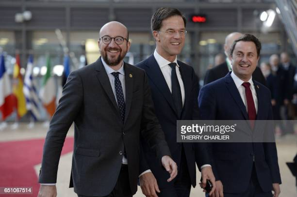Belgian Prime minister Charles Michel Dutch Prime Minister and leader of the People's Party for Freedom and Democracy Mark Rutte and Luxembourg's...