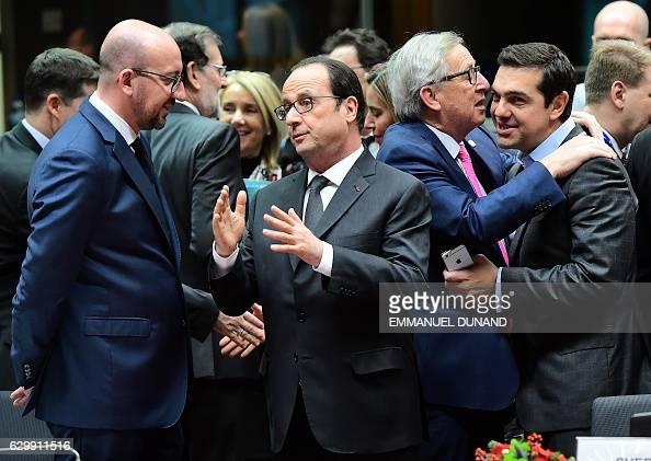 Belgian Prime Minister Charles Michel French President Francois Hollande European Commission President JeanClaude Juncker and Greek Prime Minister...