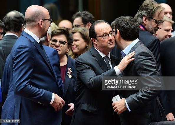 Belgian Prime Minister Charles Michel Polish Prime Minister Ewa Kopacz French President Francois Hollande and Greek Prime Minister Alexis Tsipras...